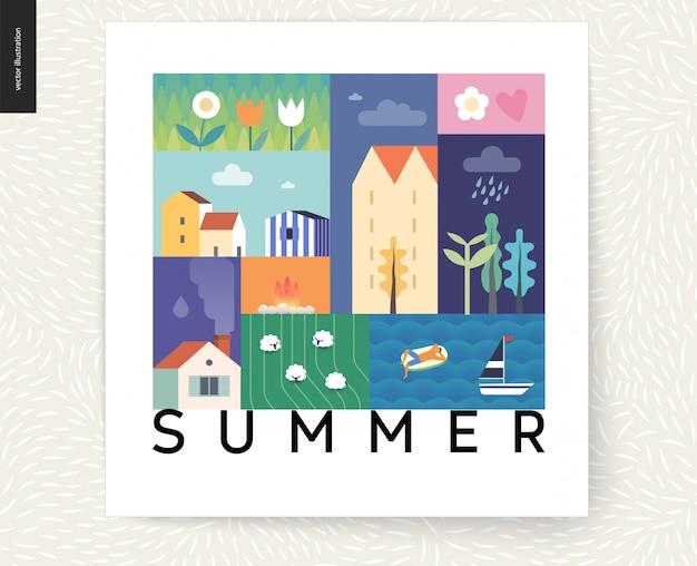 牧歌的な夏の風景はがき - 田舎 Premiumベクター