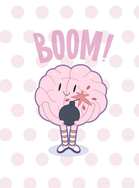 ベクトルアウトラインフラット漫画イラスト入り脳のポスター Premiumベクター