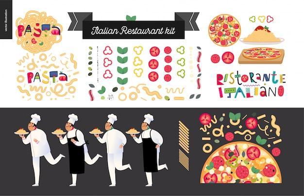 イタリアンレストランセット要素、料理人、パスタの赤いボロネーゼソース、イタリア料理の要素とレタリング、漫画のキャラクターを保持しているウェイターのキット Premiumベクター
