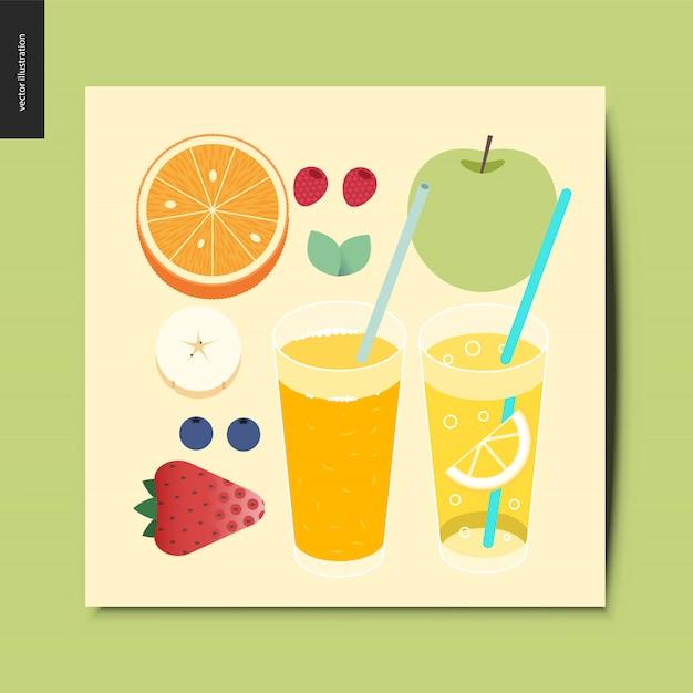 フルーツとベリーのカード Premiumベクター