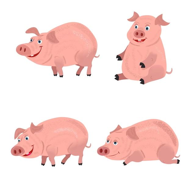 かわいい笑顔の豚が泥で遊んでいます。 Premiumベクター