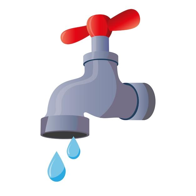 Водопроводный кран с падающей каплей. изолированные на белом фоне классический старый клапан. Premium векторы
