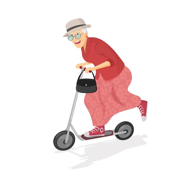 スクーターに乗って幸せな老婦人。 Premiumベクター