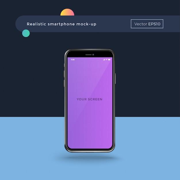 Реалистичный смартфон с пустым экраном Premium векторы