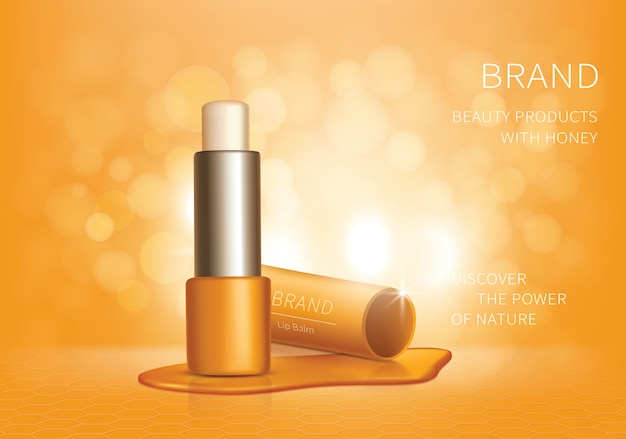 化粧品のリアルなリップクリームの広告 無料ベクター