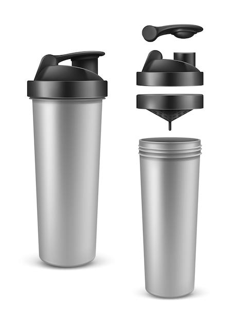 Реалистичная серебряная пустая протеиновая бутылка, миксер или шейкер Бесплатные векторы