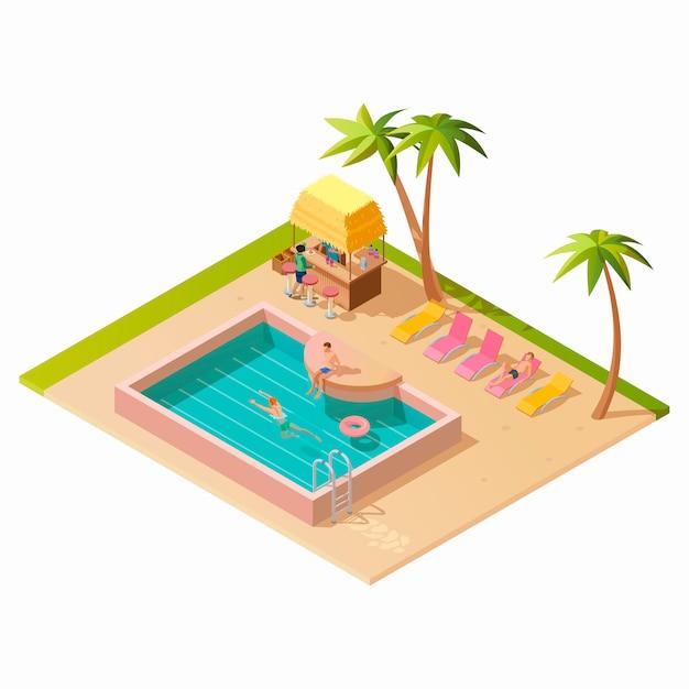 Изометрические открытый бассейн Бесплатные векторы