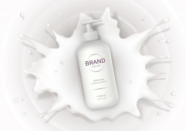 クリーム化粧品の現実的なベクトルの背景 無料ベクター