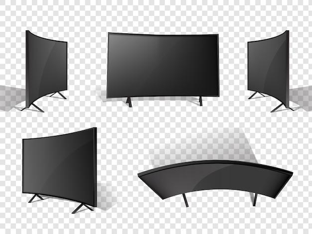 現実的な現代テレビはさまざまな角度で設定されています。 Premiumベクター