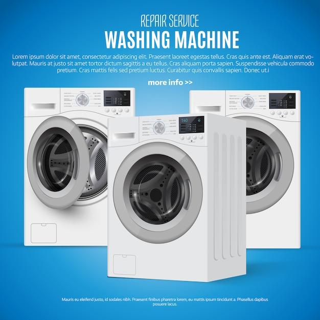青色の背景に現実的なベクトルの洗濯機。 Premiumベクター