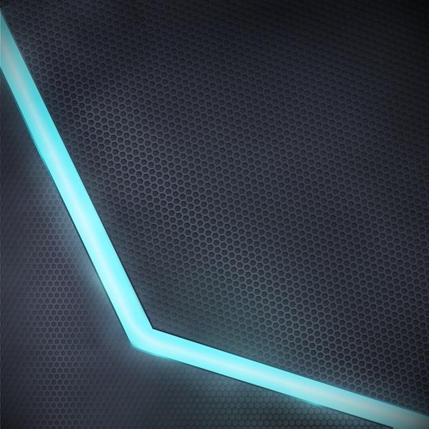 青いネオンの光とベクトルの暗い背景 Premiumベクター