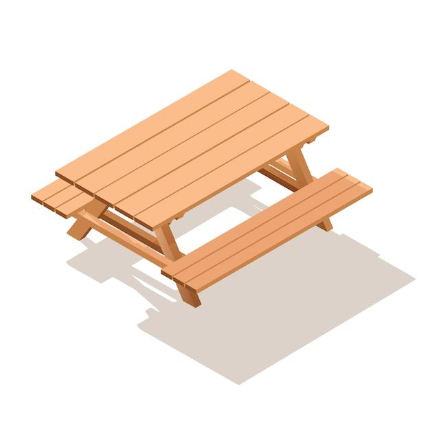 等尺性通り木製テーブルのベンチ。 Premiumベクター