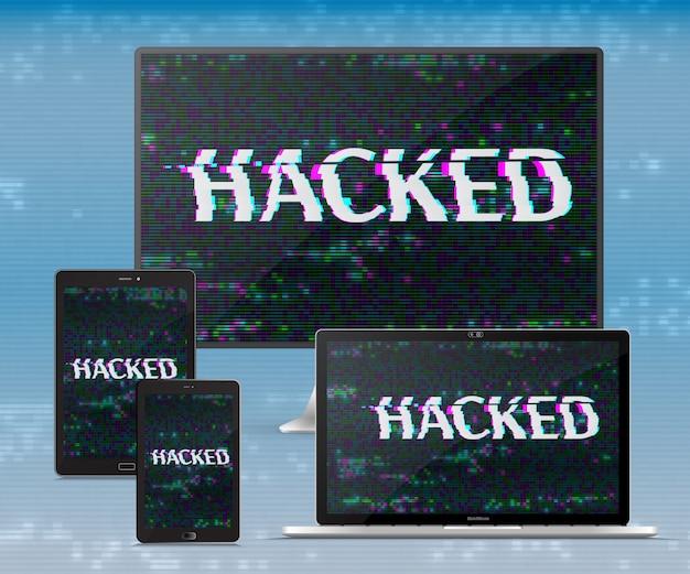 電子機器を設定します。ハッカーの攻撃サイバー犯罪の概念ベクターデザイン Premiumベクター