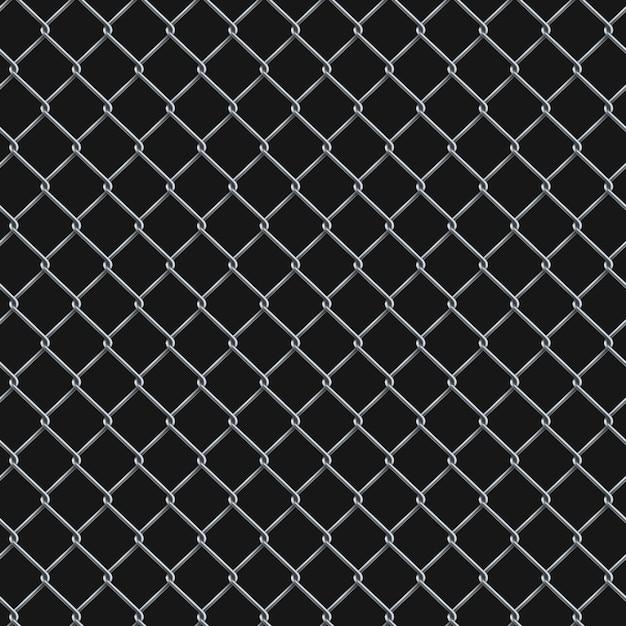 シームレスなリアルなチェーンリンクフェンスの背景。 Premiumベクター