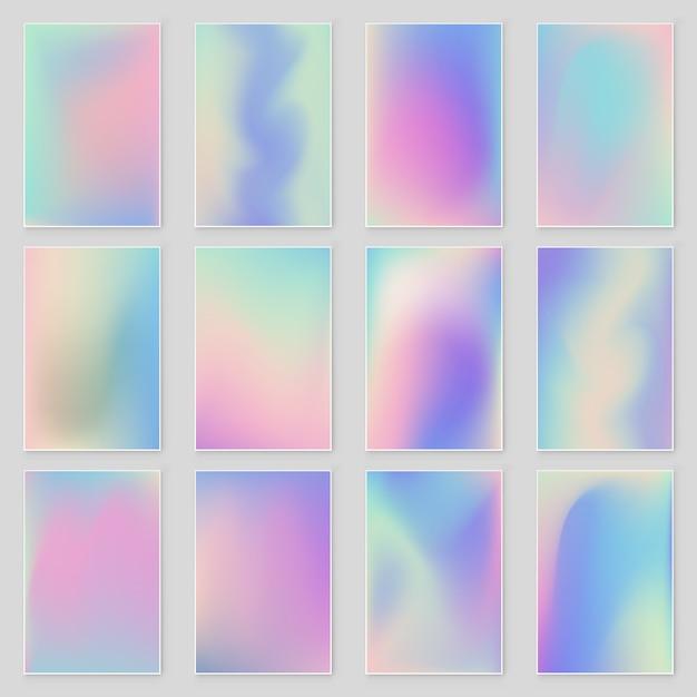 Абстрактный размытый голографический градиент фона набор современный дизайн. Premium векторы