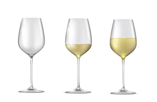 白ワインとグラスの現実的なベクトルを設定 Premiumベクター