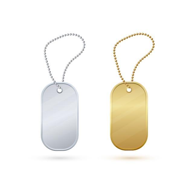 金と銀の空の現実的な金属タグ。 Premiumベクター