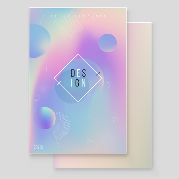 Голографическая бумага волшебная фольга мраморная крышка векторный набор. минималистичный хипстерский дизайн радужная графика для брошюры, баннера, обоев, экрана мобильного телефона Premium векторы