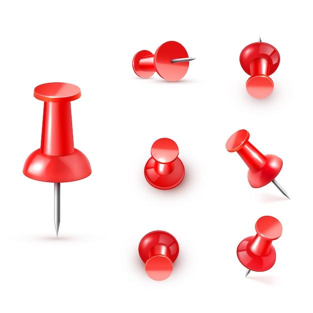 Реалистичная пластиковая глянцевая красная канцелярская кнопка Premium векторы