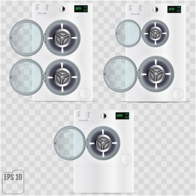 透明な背景に分離されたオープンの二重洗濯機 Premiumベクター