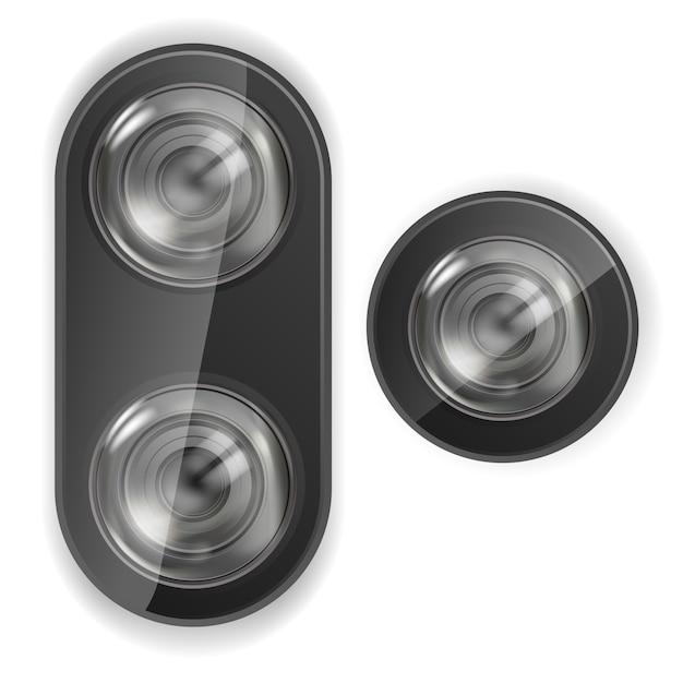 現実的なレンズカメラ。スマートフォンレンズカメラ。ベクター。 Premiumベクター