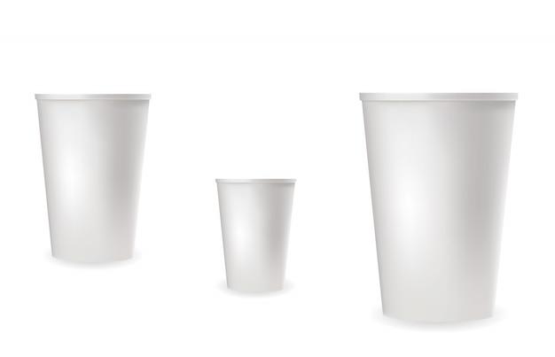 Реалистичные белые пластиковые стаканчики для холодных и горячих напитков. Premium векторы