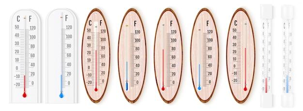 Векторный набор реалистичных жидких термометров Premium векторы