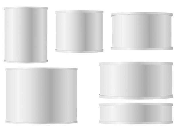 プラスチック製のキャップと缶の白い缶のセット Premiumベクター