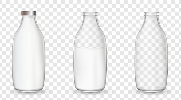 牛乳とガラスの瓶。 Premiumベクター