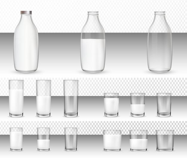 現実的なメガネと牛乳瓶のセット。 Premiumベクター