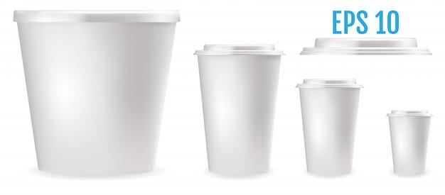 Белые пластиковые стаканчики для еды Premium векторы