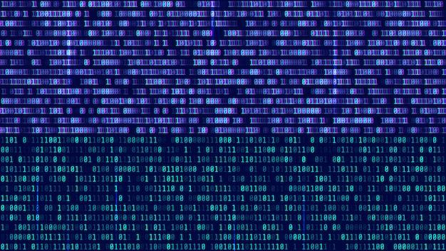 コンピュータ画面上のバイナリコード、青い数字 Premiumベクター