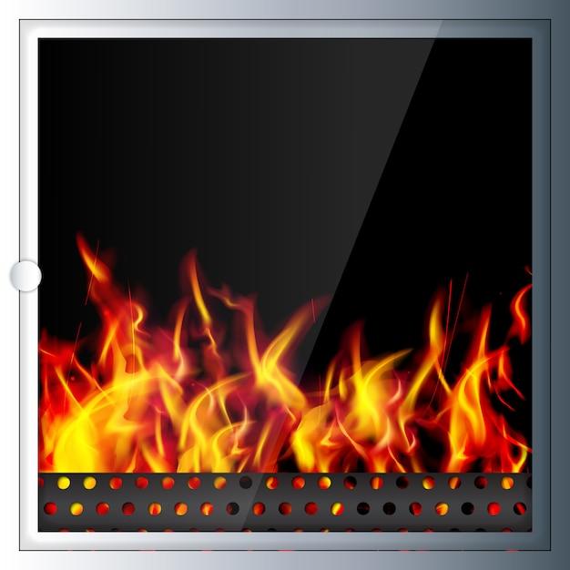 現代材料で作られた現代的なリアルなハイテク暖炉 Premiumベクター