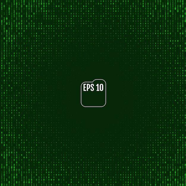 緑のシンボルとマトリックスの背景 Premiumベクター