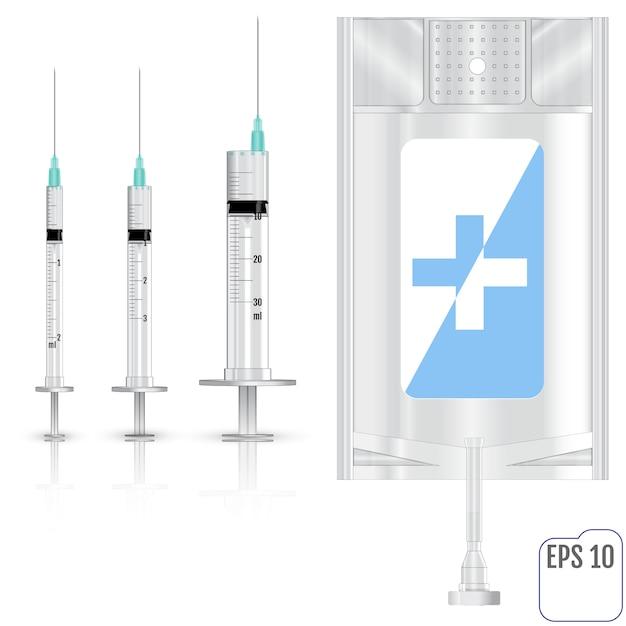 リアルな輸液と注射器ベクトルイラスト Premiumベクター