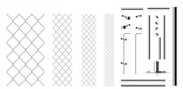 Реалистичные металлические звенья и детали забора Premium векторы