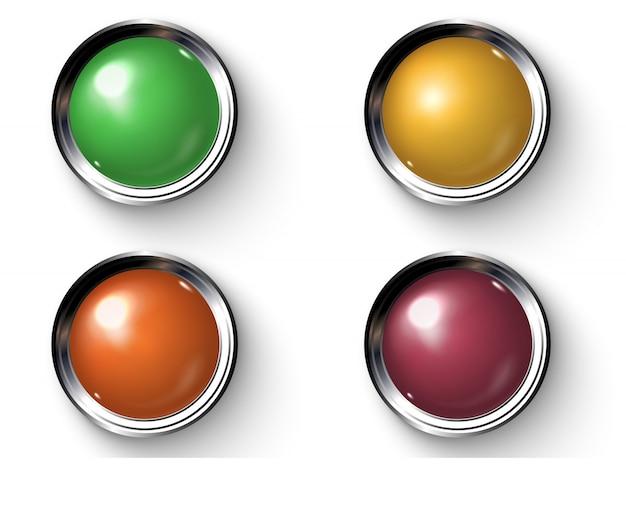 金属枠でリアルな色付きのボタンのセットです。 Premiumベクター