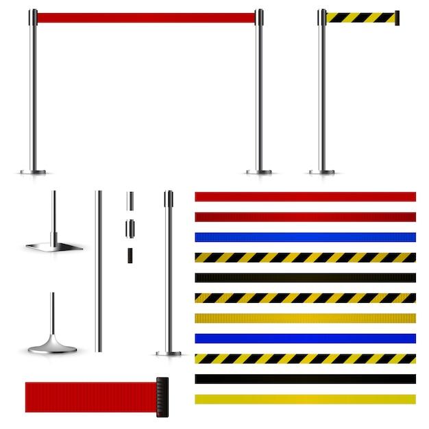 Набор для создания металлических барьеров с ремнями Premium векторы