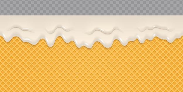 Крем растаял на вафельном фоне. Premium векторы