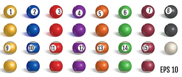 Бильярд, коллекция мячей для пула. Premium векторы