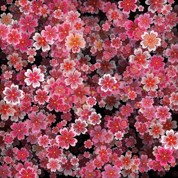 Красивый принт с цветущими темными и светло-розовыми цветами сакуры Premium векторы
