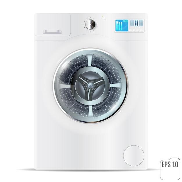 フロントロードホワイト洗濯機白で分離 Premiumベクター