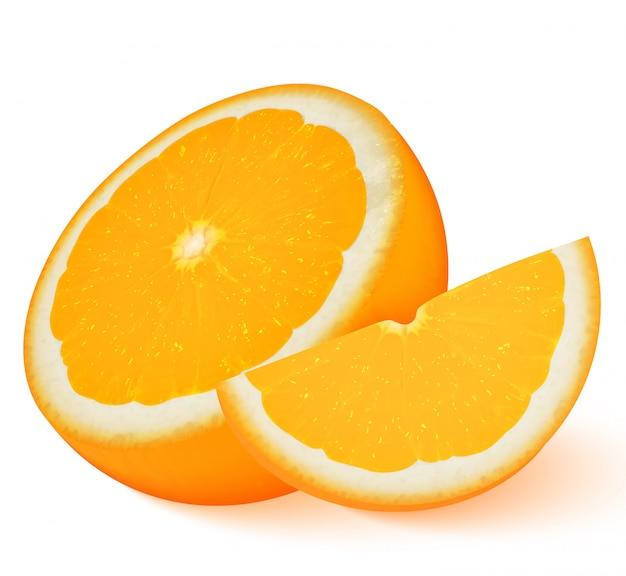 Оранжевый фрукт на белом Premium векторы