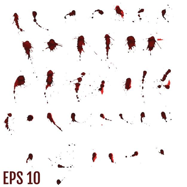 Кровавое пятно, красные капли, брызги нарисованного искусства Premium векторы