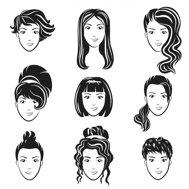 女性アバターのヘアスタイルのセット様式化されたロゴを設定します。女性の髪型アイコンエンブレム。 Premiumベクター