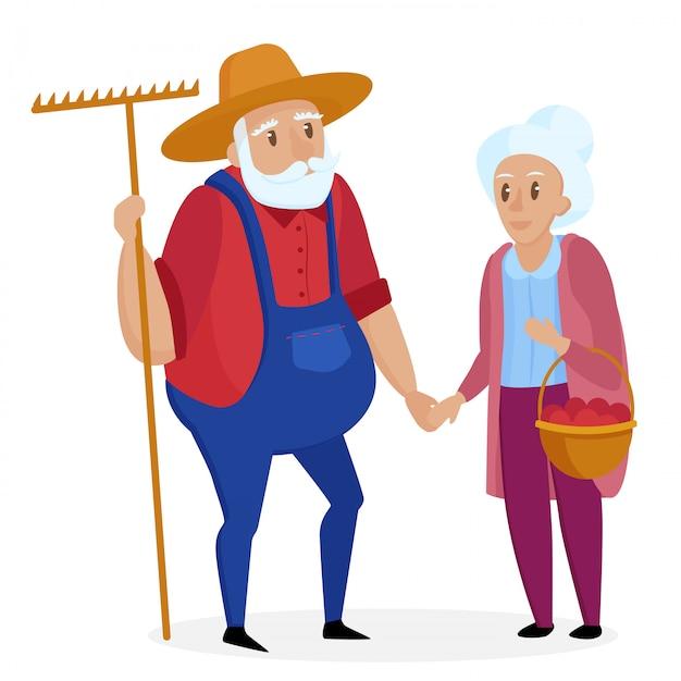 彼の妻と昔の農家。老夫婦。シニアおじいちゃんとおばあちゃんが立っています。ベクトル漫画の実例。 Premiumベクター