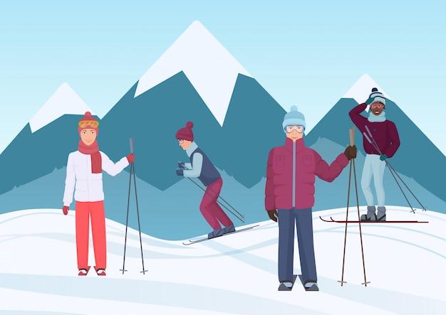 山で空に乗っている人々のグループ Premiumベクター