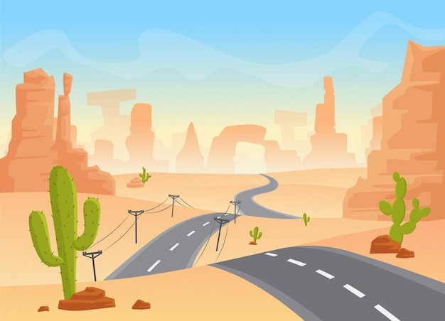Пустынный пейзаж техаса Premium векторы