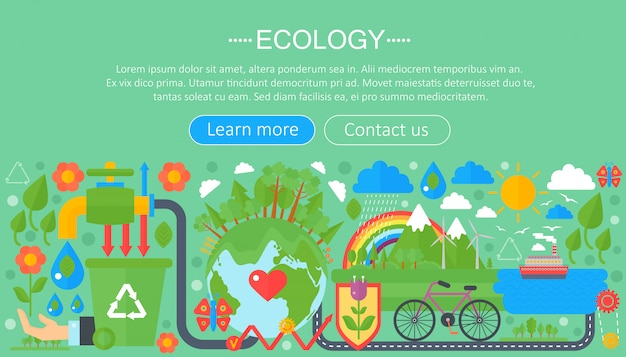 Плоская инфографика понятие экологии Premium векторы
