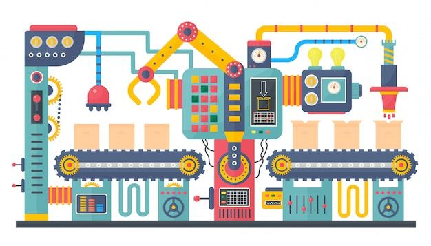 Производство промышленных конвейерных лент Premium векторы